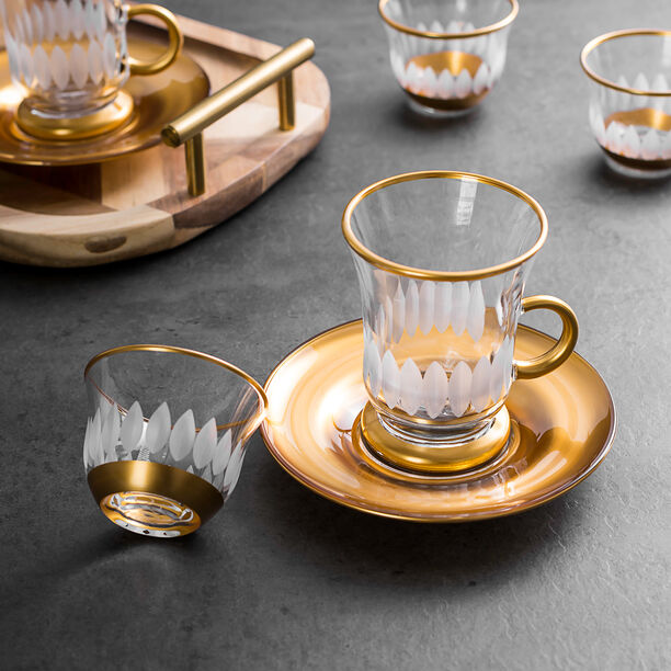18 Pieces Glass Tea And Coffee Set Sunflower Gold image number 3