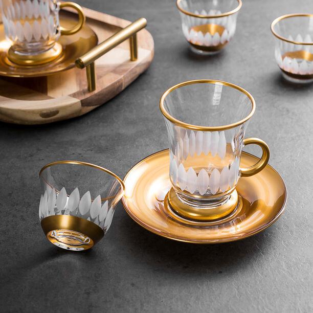 طقم شاي و قهوة 18 قطعة تصميم عباد الشمس لون ذهبي image number 3