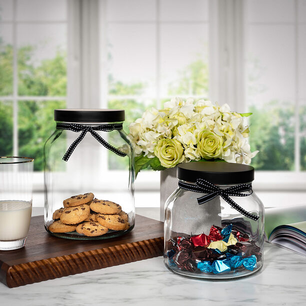 Alberto Glass Storage Jar With Metal Lid & Ribbon V:2150Ml image number 0