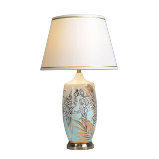 Table Lamp Leaves And Parrot