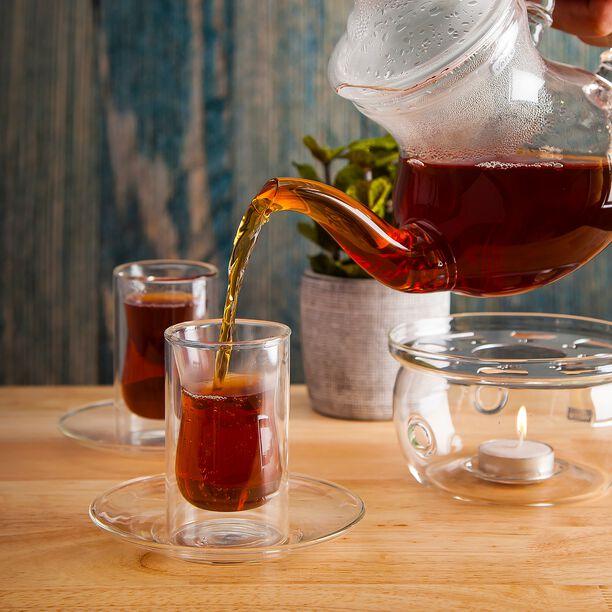 طقم شاي طبقة مزدوجة 12 قطعة بخط فضي image number 1