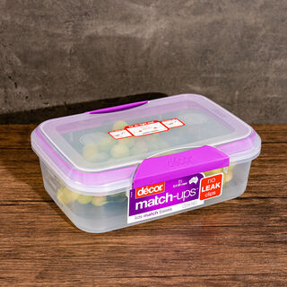 Decor Plastic Food Saver Rectangle Shape V: 2 L Purple Lid ( Match Ups Clips)