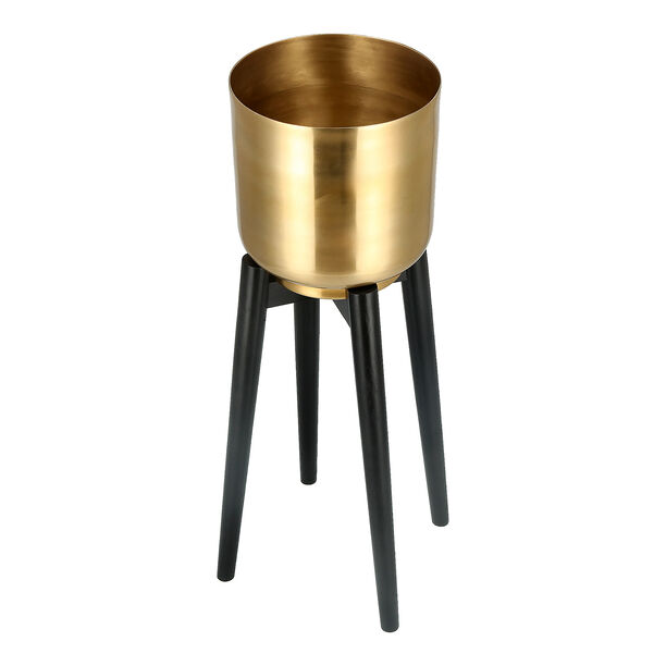 Planter Gold With Wood Stand Gold image number 2