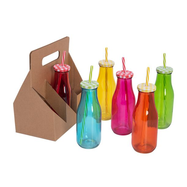 Alberto 6 Pcs Glass Milk Bottles W/ Metal Lid & Straw Asst Colors image number 0