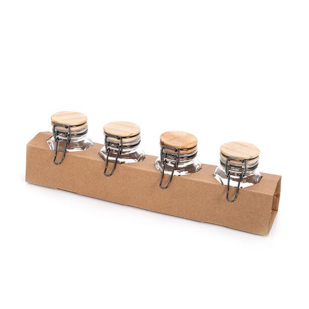 طقم برطمانات زجاج 4 قطع بغطاء خشبي من البرتو image number 2