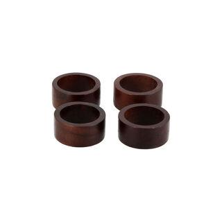 Arabesque 4 Pcs Wood Napkin Rings