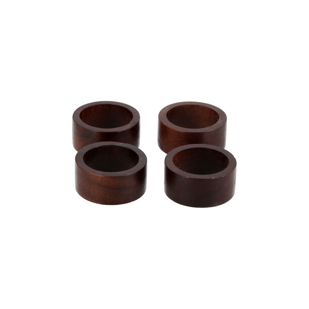 Arabesque 4 Pcs Wood Napkin Rings image number 0