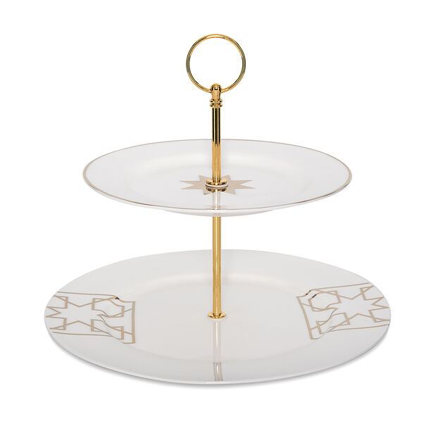 2 Tiers Porcelain Serving Stand Arabisque image number 1