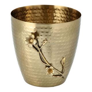 Metal Waste Bin With Leaf Gold