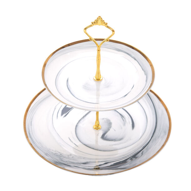 Grey Marble 2 Tier Cake Stand image number 1