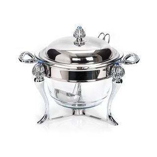 Royal Stainless Steel 4 Lt. Round Soup Warmer With Ladle