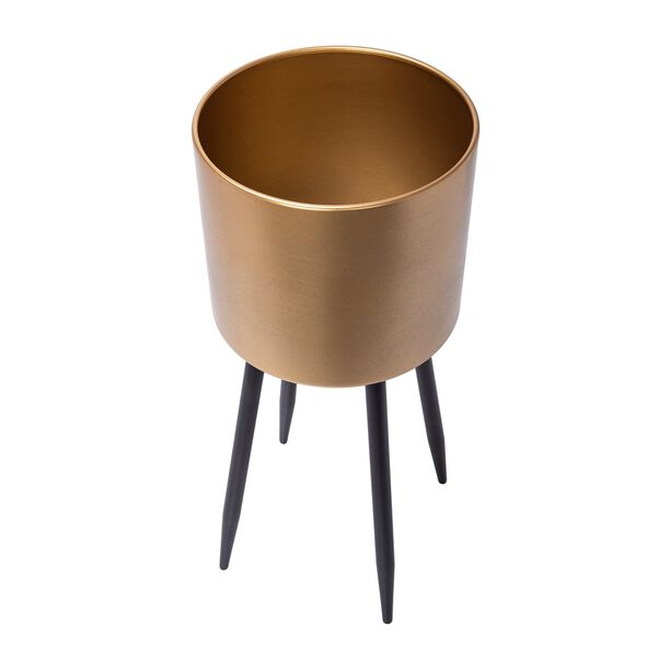 Planter With Stand Metal Gold image number 2