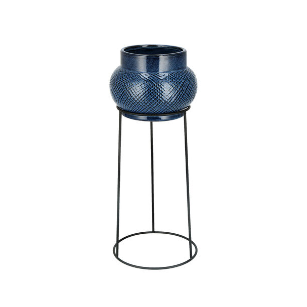 Ceramic Planter With Black Metal Stand Blue image number 0