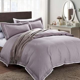 Cottage 3 Pieces Cotton Comforter Set Embroidered Pillow Shams King Size 250X240 Cm