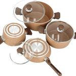 7 Pcs Granite Cookware Set Brown image number 2