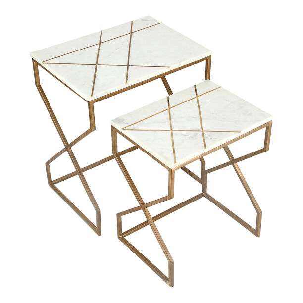 Nested Table Set Of 2 Rect. Marble And Metal White image number 4