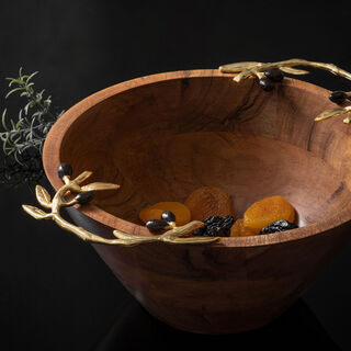 Wooden Round Bowl With Olive Handle Small 24.5Cm