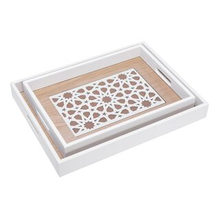 Wooden Rectangle Serving Tray Set 2 Pieces Arabic Pattren White