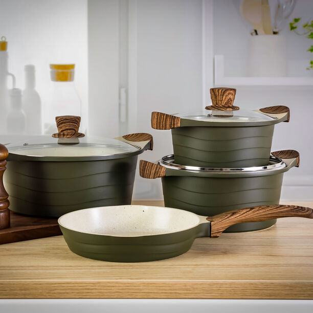Alberto London 7 Pieces Ceramic Cookware Set Olive  image number 4