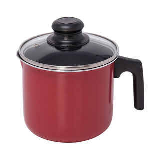Milk Pot With Glass Lid Red
