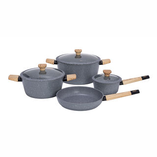 Alberto Aluminum Forged  Cookware Set 7 Pieces Grey