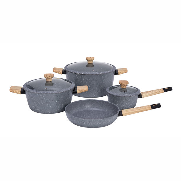 Alberto Aluminum Forged Cookware Set 7 Pieces Grey image number 0