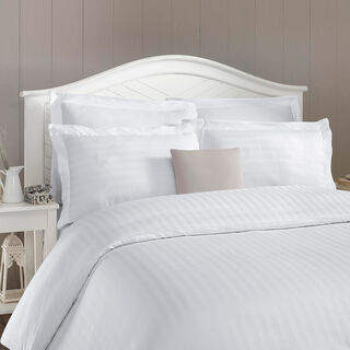 Duvet Cover Set 3 Pieces Cotton King Size Embroidery White