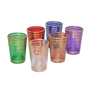 Colored Moroccan Tea Glass Set/Transparent