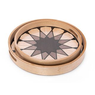 Round Tray Set With Glass 2 Pieces