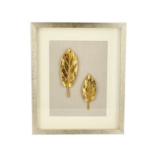 Shadow Box With Frame Golden Leaf Silver