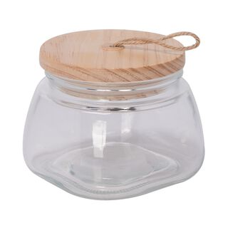 Alberto Glass Jar With Wooden Lid And Hemp Rope 1150Ml