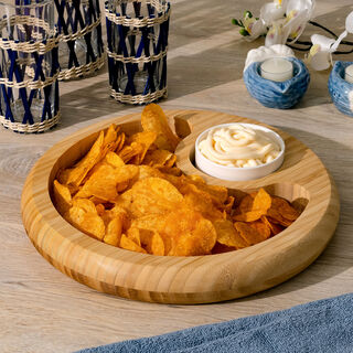 Alberto Bamboo Serving Plate With Ceramic Bowl