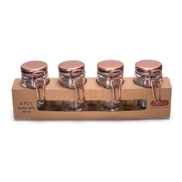 Alberto Glass Mini Spice Jars Set 4 Pieces With Copper Clip Lid image number 1