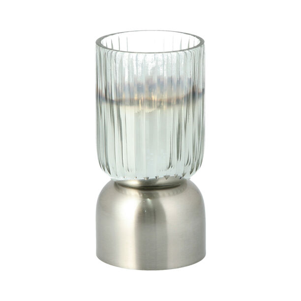 Glass Ribbed Candle Holder Solid Ombre And Silver  image number 1