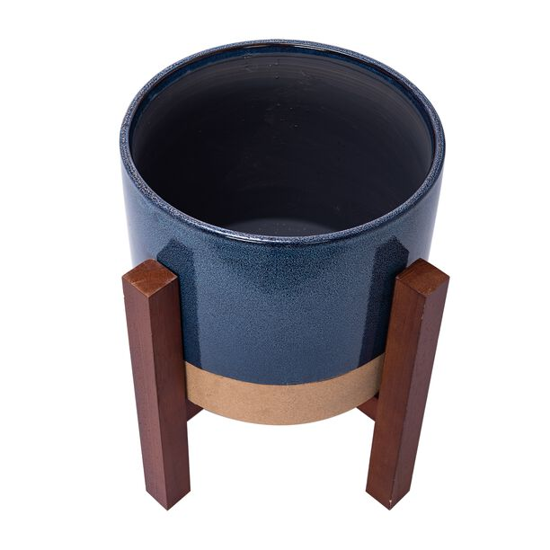 "Ceramic Blue Planter With Stand 11.5"" image number 2"