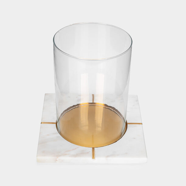 Candle Holder White Marble Gold Inlay image number 2