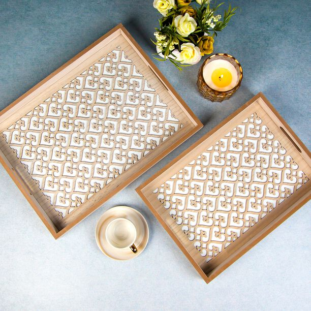 Wooden Tray Set 2 Pieces image number 3