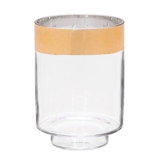 مزهرية زجاج شفاف بإطار ذهبي