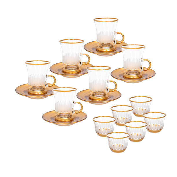 18 Pieces Glass Tea And Coffee Set Sunflower Gold image number 0