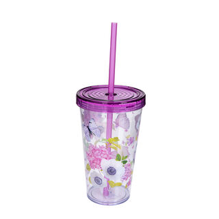 Herevin Plastic Tumbler With Straw V:660Ml Butterfly Design