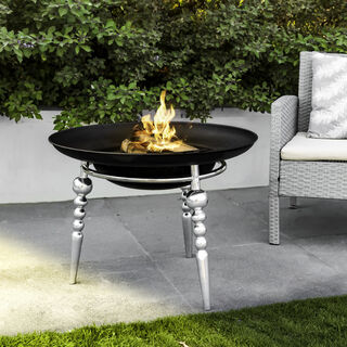 Fire Pit Round Stainless Steel And Iron