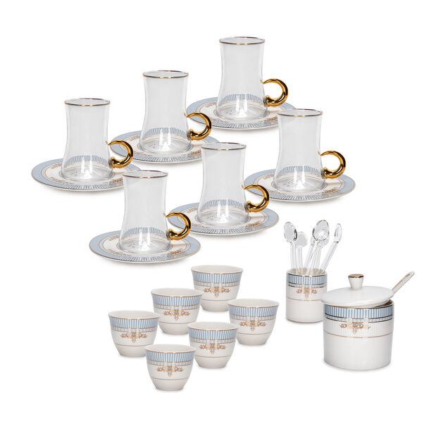 28Pc Arabic Tea And Coffee set Porcelain Royal Blue image number 1