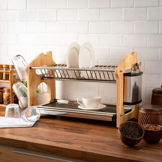 Alberto Dish Rack 2 Layer Stainless Steel With Wood