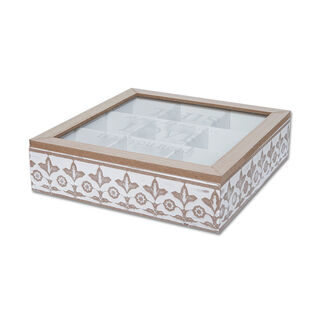 Tea Box Glass Cover Printing''This Is My Home Love Is All You Need'' 1Pc24*24*6.5Cm.