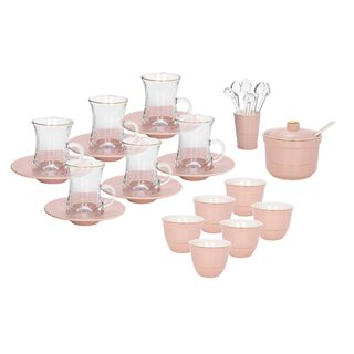 Zukhroof 28Pc Porcelain Tc Set Pink Serve 6