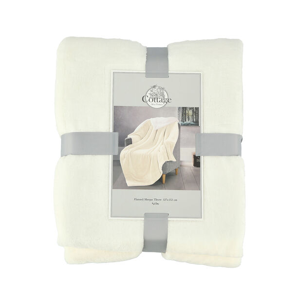 Cottage Flannel Sherpa Throw White image number 1
