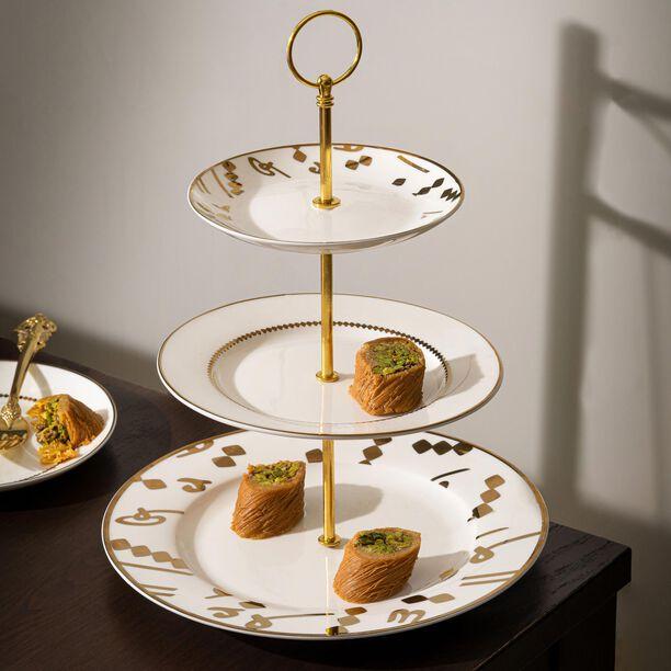 La Mesa 3 Tiers Porcelain Dessert Serving Gold image number 2