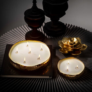 Candle Tray Hammered Gold