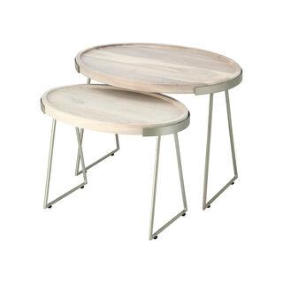 Wood Nested Table White Wash