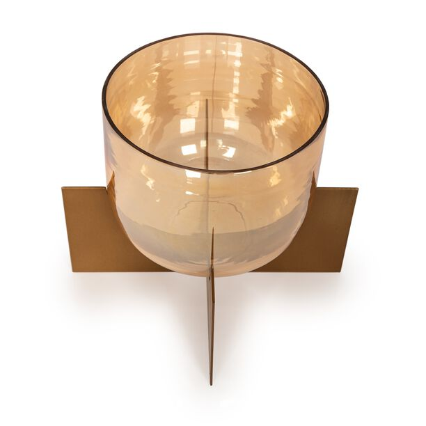 Metal And Glass Candle Holder With Base image number 1